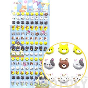 Adorable Kitty Cat Face Shaped Animal Puffy Sticker Seals for Scrapbooking and Decorating