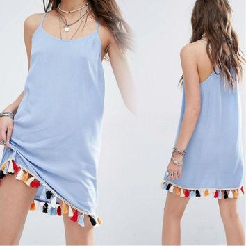 DCCKVQ8 Fashion Solid Color Rainbow Tassel Loose Sleeveless Strap Mini Dress