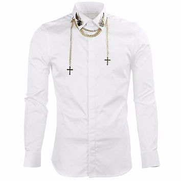 Solid Color + Neck Cuff Chain Button Up Shirts