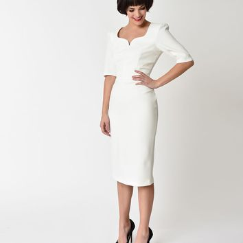 The Pretty Dress Company Ivory Sleeved Charlotte Pencil Dress