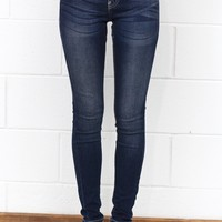 Blue Washed Mid-Rise Skinny Jeans {Medium Wash}