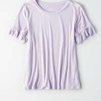 AE Soft & Sexy Ruffle Sleeve T-Shirt , Purple
