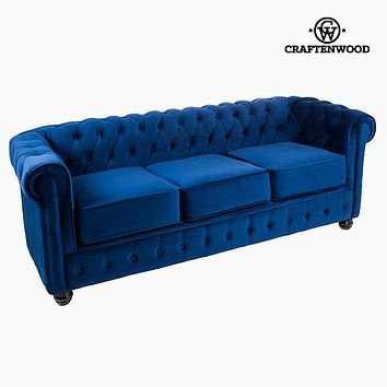 3 Seater Chesterfield Sofa Velvet Blue - Relax Retro Collection