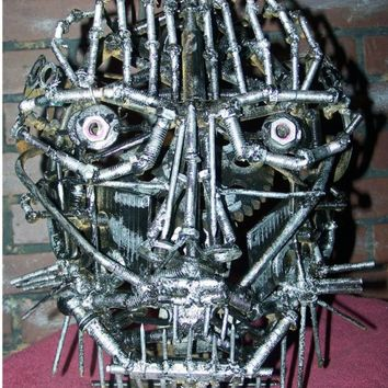 Metal Face Welded Scrap Sculpture Up cycled,Definitely OAK WAR PAINT, Eye Ring , and missing tooth