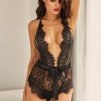 Plunge V Eyelash Neckline Strappy Open Back Black Lace Teddy
