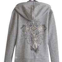 Miss Me Girls Gray Hooded Sweatshirt with Zipper