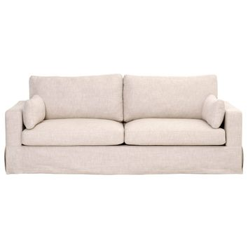 "Ultra Comfy Two Seater 89"" Sofa, Bisque Cream"