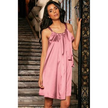 Dusty Pink Halter Sleeveless Swing Dress