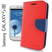Xfish Online Mercury Fancy Diary / Wallet Leather Case for Samsung Galaxy S3 GT-i9300 (Fits Verizon, AT&T, T-Mobile, Sprint) - Red / Blue
