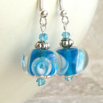 Turquoise Lampwork Earrings -  Ocean Blue, Swarovski Crystal, Beaded Dangle, Gift for Her