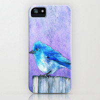 iPhone 5 Bluebird Case - Watercolor Painting - Brazen Art Cell Phone Cover  - iPhone 5 4 4s 3g Case
