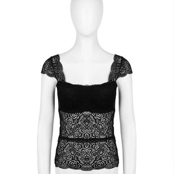 Summer Women Elegant Black Full Lace Camis Underwear Super Sexy Lace Bottoming Vest For Ladies Breathable Sleeveless Top Camis
