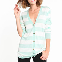STRIPED V NECK CARDIGAN