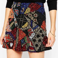 ASOS Mini Skirt with All Over Patchwork Sequin