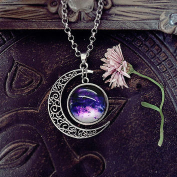 Purple Galaxy Moon, Space Moon Pendant, Celestial Pendant, Moon Pendant, Planet Pendant