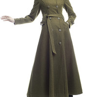 My Big Turndown Collar Style Olive Belted Wool Long Jacket Maxi Trench Coat Outerwear D0212