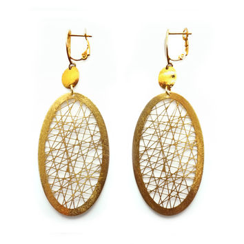 Fractal Mesh of Gold-Plated Silver Wires, Earrings