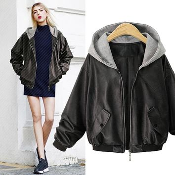 Autumn Winter New Fashion Women Long Sleeve Leather Cattle Hide Zippered Hooded Brief Solid Color Jacket Coat