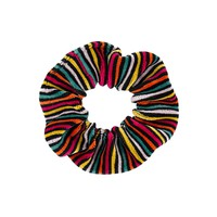 Girls Colorful Striped Velvet Scrunchie