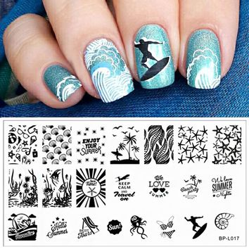 BP-L017 Summer Beach Sea Nail Art Stamp Template Image Plate BORN PRETTY L017 12.5 x 6.5cm #19372 Nail Stamping Plates