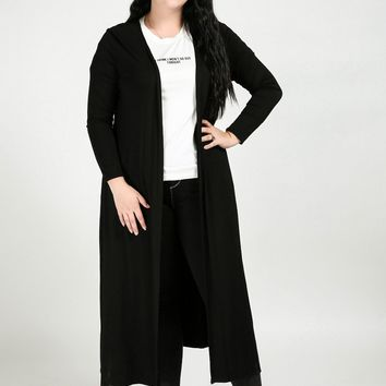 Women's Sexy Plus Size Trench Coat Solid Black Long Casual Duster Coat Spring Autumn Cardigans Modal Trench Coat