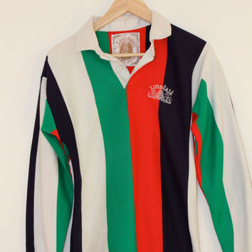 Vintage Lonsdale Striped Rugby / Cross-Country Horse Riding Shirt / Jumper - UK 8-10