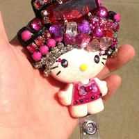 New Vintage Gems Hello Casting Kitty Id Badge Holder w/ Retract Reel