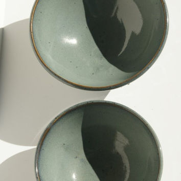 Pair Green Nesting Bowls with Vine Slip Trailing design - Hand thrown, stoneware pottery