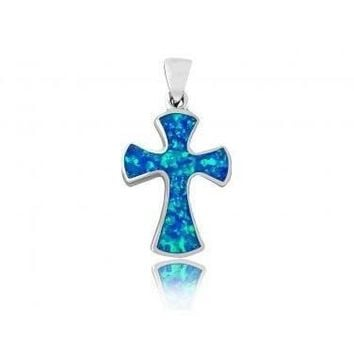 925 Sterling Silver Hawaiian Blue Fire Inlay Opal Gothic Cross Charm Pendant