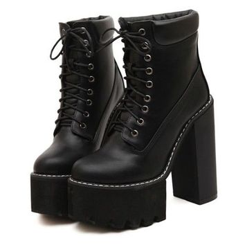 Women Girl Punk Gothic Lace Up Super High Heel Chunky Block Platform Ankle Boots