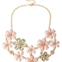 Haskell Gold-Tone Pink Faceted Bead Flower Frontal Necklace