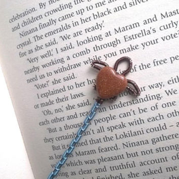 Sea Turtle Bookmark, Wire Wrapped Brown And Goldstone Tortoise Metal Bookmark, Unique Bookmarks, Wire Wrapped Novelty Animal Page Marker