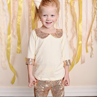 Sparkle Sequins Peter Pan Collar Shirt Rose Gold