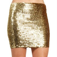 Gold Sequin Party Mini Skirt