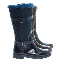Stormy02 Brown Nylon By Bamboo, Mid Calf Quilted Faux Fur Lined Shaft Zip Up Rain Boots