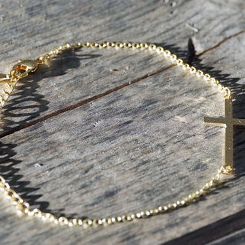 18k Gold plated and silver plated tiny dainty sideway cross chain adjustable bracelet (BR00001)