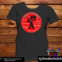 Red and White Ribbon Fight Strong Motto (Aplastic Anemia, DVT, MDS, Oral Cancer, Squamous Cell Carcinoma)