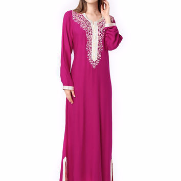 Muslim women Long sleeve Dubai Dress maxi abaya jalabiya islamic women dress clothing robe kaftan Moroccan fashion embroidey1631
