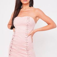 brooklyn nude suede lace front bandeau dress