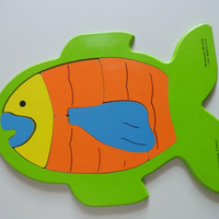 Vintage Judy Instructo Fish Shaped Frame-Tray Toy Puzzle 1991