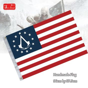 Stars and Stripes Flag Connor Kenway of Assassins Creed 3 III logo Cosplay  flag costume accessories toys for children adult