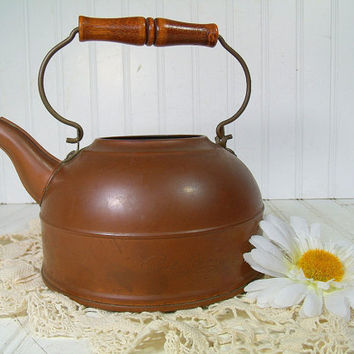 Vintage Paul RevereWare Copper TeaPot with Wooden Handle - Rustic Hot Water Kettle FarmHouse Display - Shabby Cottage Chic Fireplace Decor