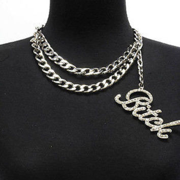 "SLVR Bling Rhinestone ""BITCH"" Statement Necklace DOUBLE LINK CHAIN Choker CHUNKY"