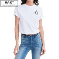 EAST KNITTING H950 Funny Cartoon Middle finger Hand Print T Shirt For Women Short Sleeve White Simple Clothing Female Tee