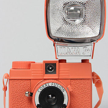 The Diana Mini Camera with Flash in Coral Fusion