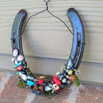 Horse shoe Decor - Lucky Horse shoe - Recycled Horse shoes - Colorado Horse shoe