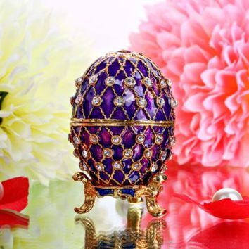Purple Easter Metal Case Gift Embroidery Faberge Russian Egg Jewelry Trinket Box