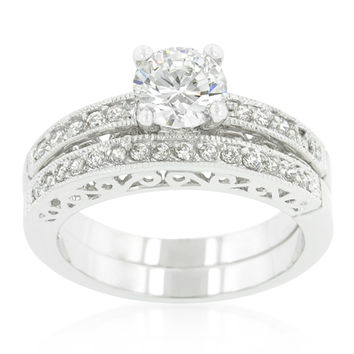 Kember Filigree Round Engagement and Wedding Ring Set | 2.8ct