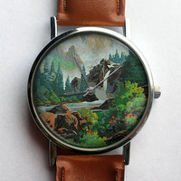 Paint by Numbers Watch, Woodlands, Landscape, Vintage Inspired, Ladies Watch, Men's Watch, Analog, Gift Idea