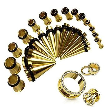 BodyJ4You Gauges Kit Taper Set 0G Plug Tunnel Gold 12G-0G Gauges 30 Pieces